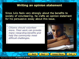 persuasive essay introduction a writer s checklist choosing an  11 writing an opinion statement