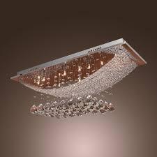 modern polished chrome flush mount crystal chandelier with led light medium size