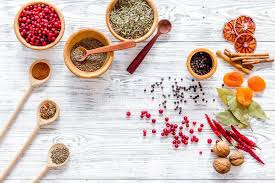kitchen table with food. Colorful-dry-herbs-spices-cooking-food-light-wooden-kitchen-table -background-top-view-100285552 Kitchen Table With Food