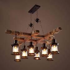 8 Kopf Vintage Industrial Style Holz Kronleuchter Höhere Qualität Personalisiertes Design