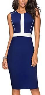 Homeyee Womens Round Neck Optical Illusion Business Bodycon Dress B530
