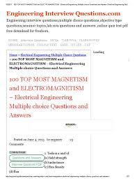 100 top most magnetism and electromagnetism electrical 100 top most magnetism and electromagnetism electrical engineering multiple choice questions and answers electrical engineering multiple choice