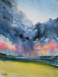 how to paint a stormy sunset sky in watercolor