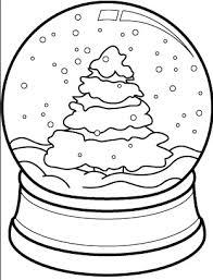 Christmas Tree Snow Globe Coloring Page