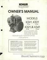 engine manuals kohler k241 k301 k321 k341 · kohler k91rt owner s manual and parts list
