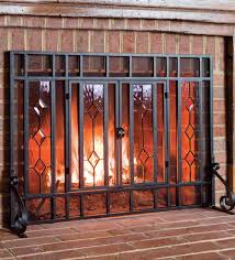 44 w x 33 h beveled glass diamond fireplace screen with powder coated