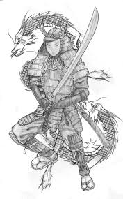Samurai Warrior Design Grey Ink Samurai Warrior With Dragon Tattoo Design For Men