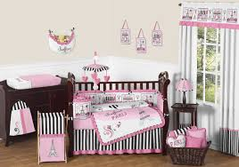 french pink black eiffel tower paris nursery bedding 9pc baby girl crib set