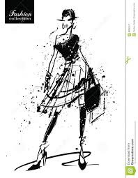 Fashion Girl In Sketch Style Retro Poster Stock Vector