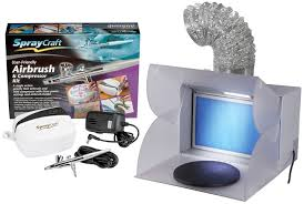 spraycraft airbrush and compressor kit with portable fold away airbrush spray booth vent hose and
