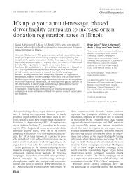 pdf the tell us now caign for organ donation using message imacy to increase donor registration rates