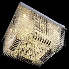 new luxury modern rectangle flush mount crystal chandelier lighting l800 w800 h290mm hanging light shades bedroom hanging lights from dh996zhenhao