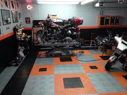 harley davidson home garage with racedeck garage flooring shed