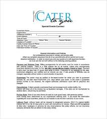 Catering Contract Samples Catering Contract Templates Word Excel Fomats