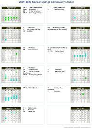 How To Make A School Calendar Academic Calendar Pioneer Springs Community School Inc