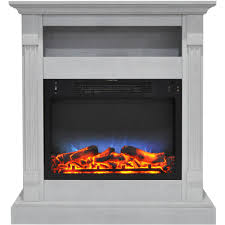electric fireplace with multi color led insert and white mantel