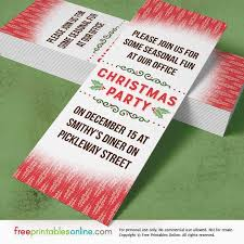Holly Red Printable Office Christmas Party Invitations Free