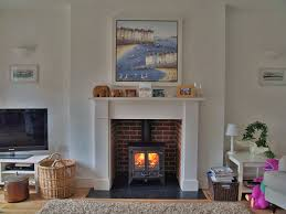bespoke mdf mantel with reclaimed brick slip chamber natural slate tiled hearth and charnwood island 1 multi fuel stove ed in chalkwell es 2010