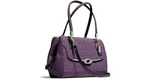 Lyst - Coach Madison Small Madeline Eastwest Satchel in Op Art Needlepoint  Fabric in Purple