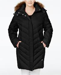 black puffer coats kenneth cole plus size faux fur trim chevron quilted down puffer coat