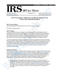 Irs Schedule Refund Chart 2015 Irs Fs 2015 9 2014 Tax Changes Health Care Law Brings