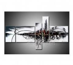 large hand painted clouded city on the river gallery wrapped oil canvas wall art 5pcs on cheap black and white canvas wall art with cheap oversized wall art foter