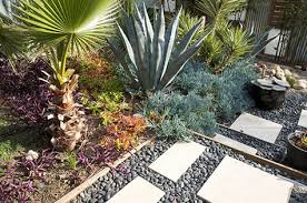 Images above from Design Sense landscapers in San Diego. Xeriscape gardens  range from very minimal foliage with lots of stones, rocks and other  silvery ...