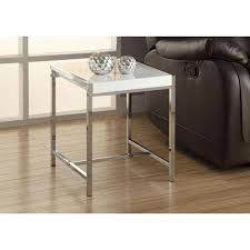 monarch specialties glossy white end table