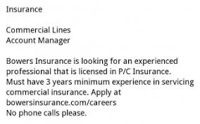 Commercial Lines Account Manager Manager Bowers Insurance