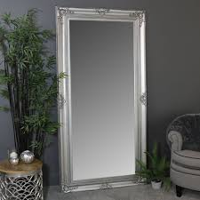details about extra large size wall floor leaner silver frame bevelled mirror home display