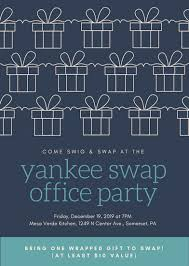 office party flyer dark blue gifts yankee swap party flyer templates by canva