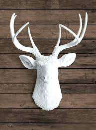 stags head wall decoration faux white deer head with white antlers ceramic taxidermy stag faux white deer head with white