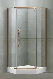 self cleaning tempered glass pivot shower doors with full stainless steel