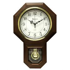 timekeeper s 18 1 2 in x 11 1 4 in pendulum westminster chime faux wood wall clock 180wagm the home depot