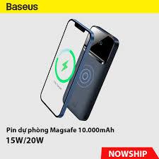 Pin dự phòng BASEUS Magnetic Wireless 20W max tích hợp sạc không dây nam  châm 15W cho iPhone 12, Airpods - Pin sạc dự phòng di động Thương hiệu  Baseus