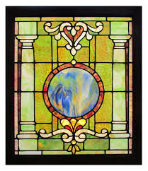 stained glass window with blue circle in middle