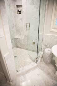 master bathroom corner showers. Master Bathroom With Corner Shower Accented Marble Surround Framing A Tiled Niche Over Bench And Mosaic Floor Finished Showers R