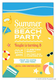 Beach Invitation Fun Summer Beach Party Birthday Invitation