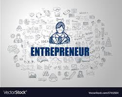 Entrepreneur Logo Design Entrepreneur Concept With Business Doodle Design