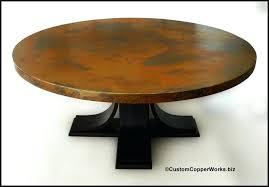 large round copper top dining table oak wood pedestal uk base