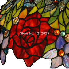 ... Lustre Tiffany Style Rose Pendant Lamp Bedroom Living Room Kitchen  Hanging Lights Shade Up Stained Glass ...