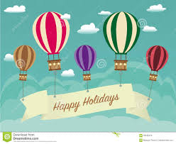 Retro Holidays Retro Happy Holiday Background With Ribbon On Hot Air Balloon
