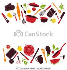 Kitchen tools background isolated illustration