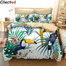 tropical bed sheets 3 toucan and pineapple duvet cover set with pillowcase tropical plant bedding set