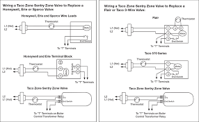 wire diagram for taco zone valves for hydronic heating systems Honeywell Zone Control Wiring Diagram hydronic heating taco zone sentry zone valves wiring example coverting from a honeywell zone valve or Honeywell V8043E Wiring