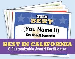 The Best In California Customizable Award Certificates Kids Etsy