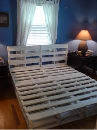 using wood pallets make a bed frame just sand the pallets to remove splinters buy pallet furniture 4