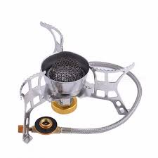 outdoor camping hiking hose gas stove burner fuel tank gas cooker cooking camping stainless steel mini stove silver