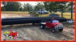 power wheels ride on flatbed truck gooseneck trailer pulling a 450lbs 60ft of pipe challenge