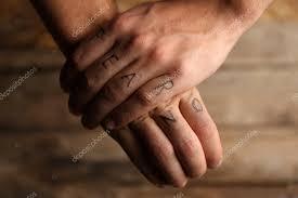 Tetování Nápisy Mužské Prsty Značka Stock Fotografie Belchonock